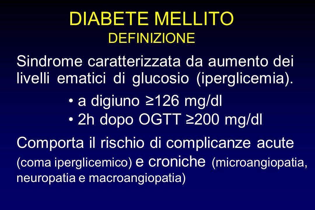 DIABETE MELLITODEFINIZIONE. Sindrome caratterizzata da aumento dei livelli ematici di glucosio (iperglicemia).