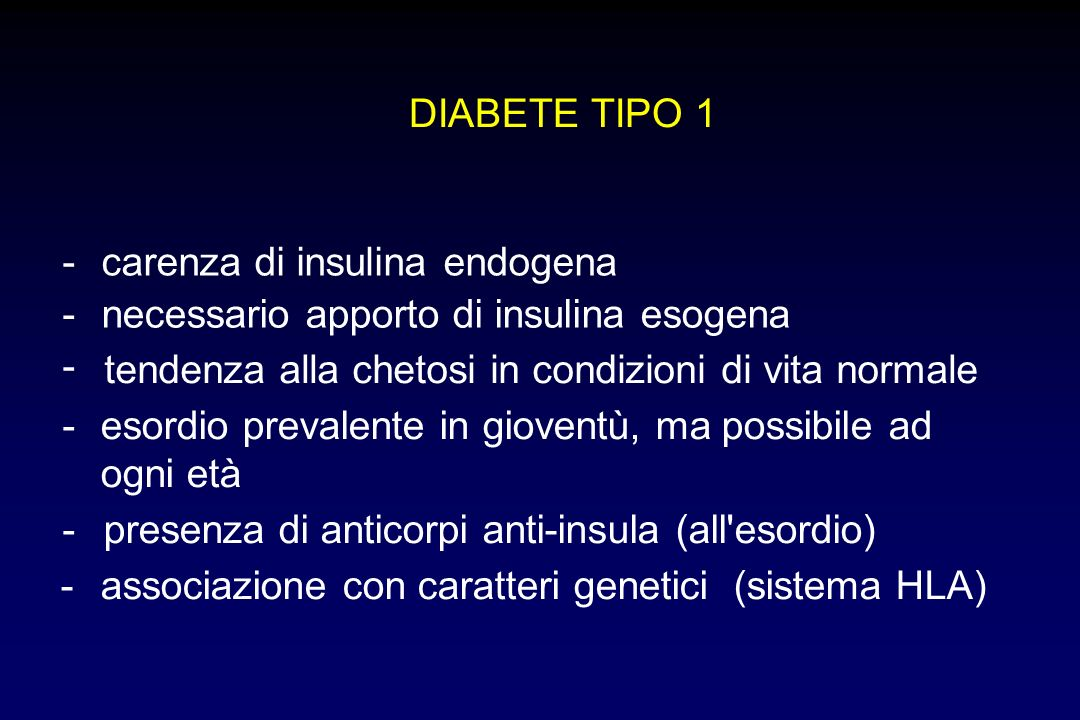 carenza di insulina endogena - necessario apporto di insulina esogena