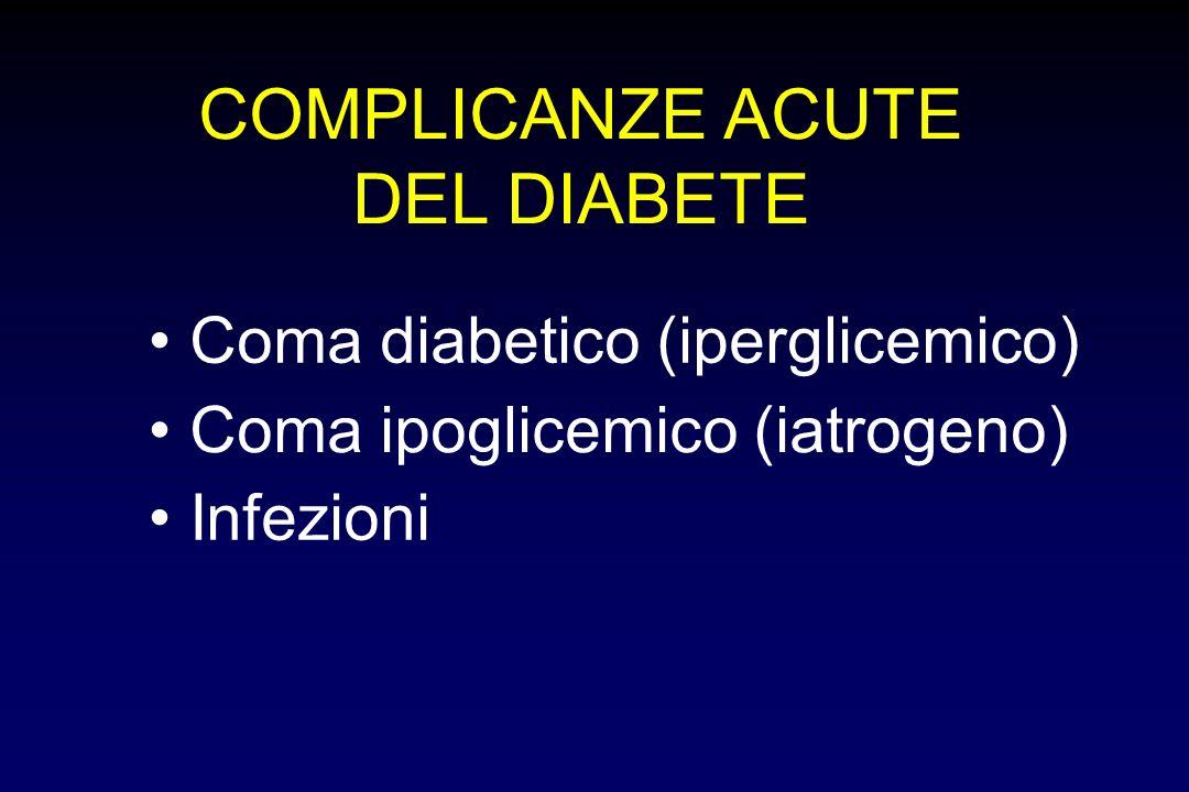 COMPLICANZE ACUTE DEL DIABETE • Coma diabetico (iperglicemico) •
