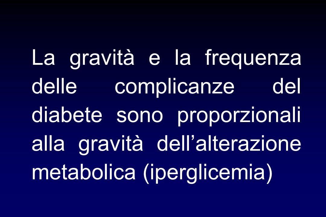 La gravità e la frequenza delle complicanze del diabete sono proporzionali alla gravità dell'alterazione metabolica (iperglicemia)