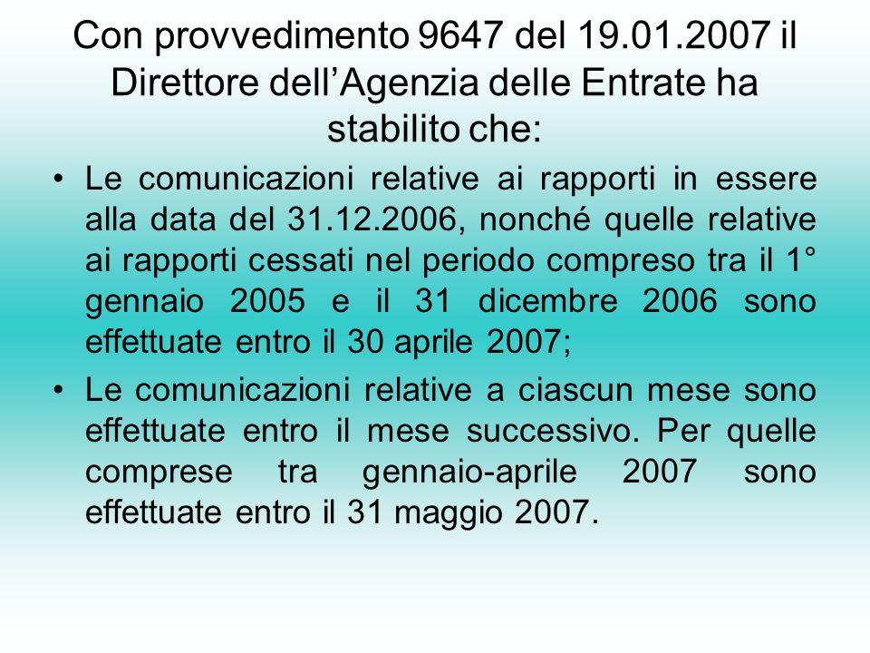 Con provvedimento 9647 del 19.01.2007 il Direttore dell'Agenzia delle Entrate ha stabilito che: