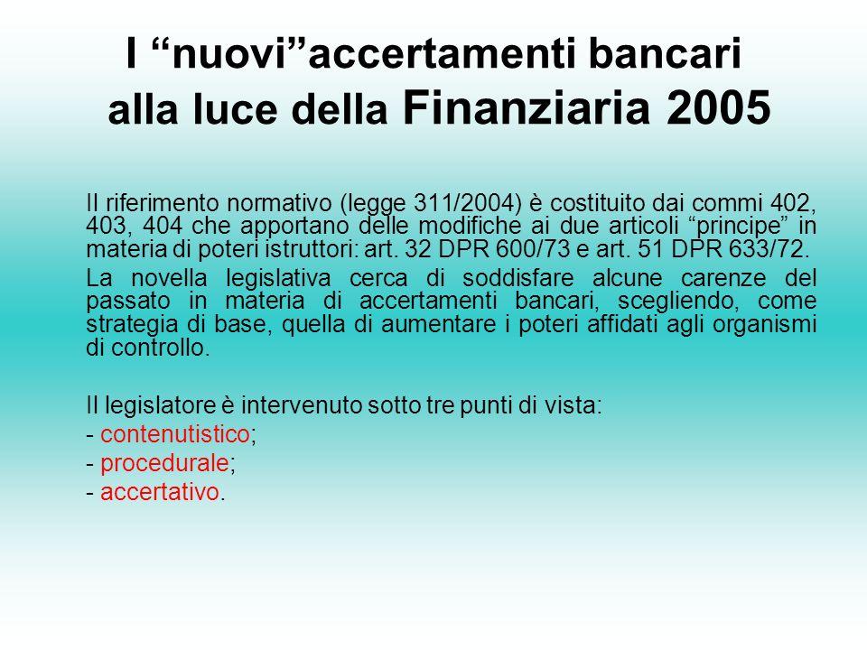 I nuovi accertamenti bancari alla luce della Finanziaria 2005