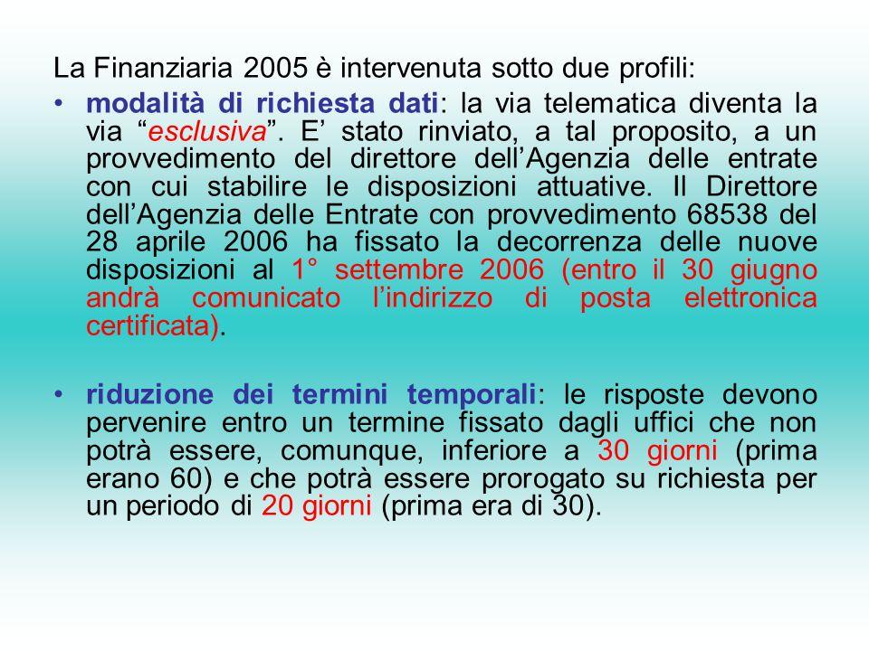 La Finanziaria 2005 è intervenuta sotto due profili: