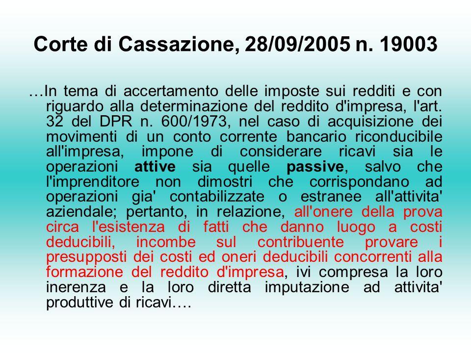Corte di Cassazione, 28/09/2005 n. 19003