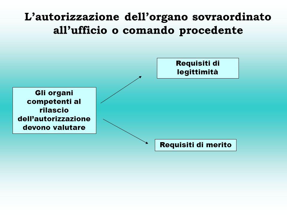 L'autorizzazione dell'organo sovraordinato all'ufficio o comando procedente