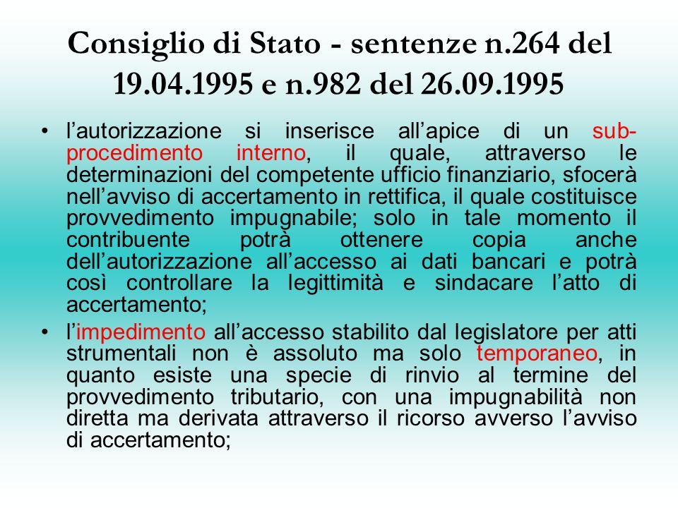 Consiglio di Stato - sentenze n. 264 del 19. 04. 1995 e n. 982 del 26