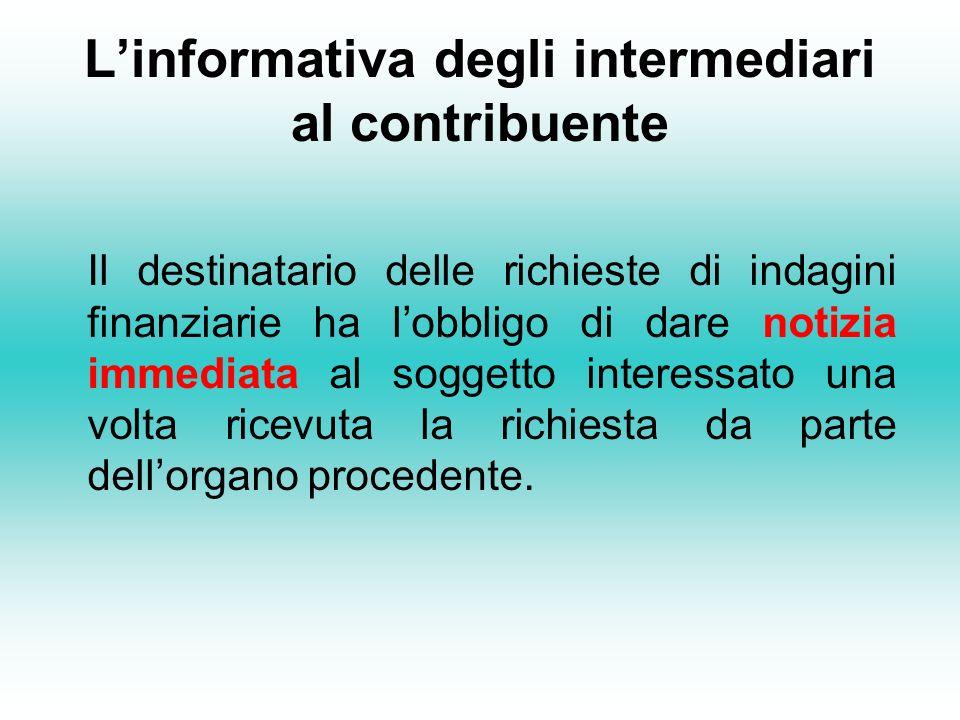L'informativa degli intermediari al contribuente