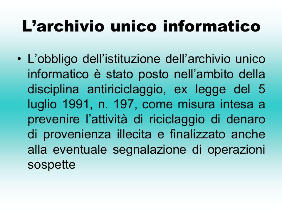 L'archivio unico informatico