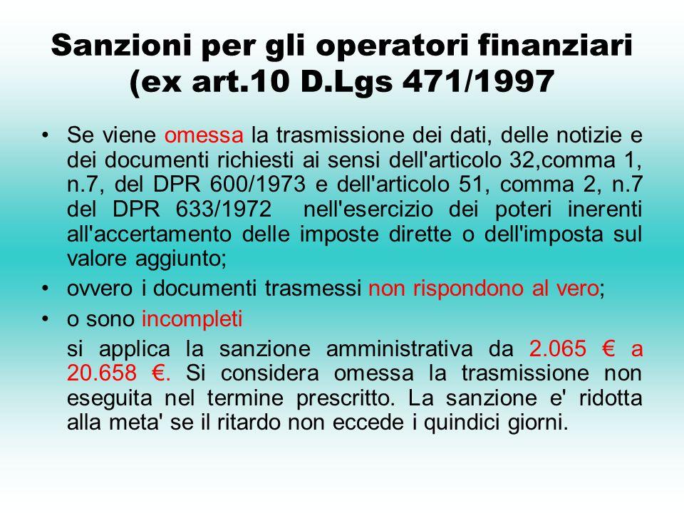 Sanzioni per gli operatori finanziari (ex art.10 D.Lgs 471/1997