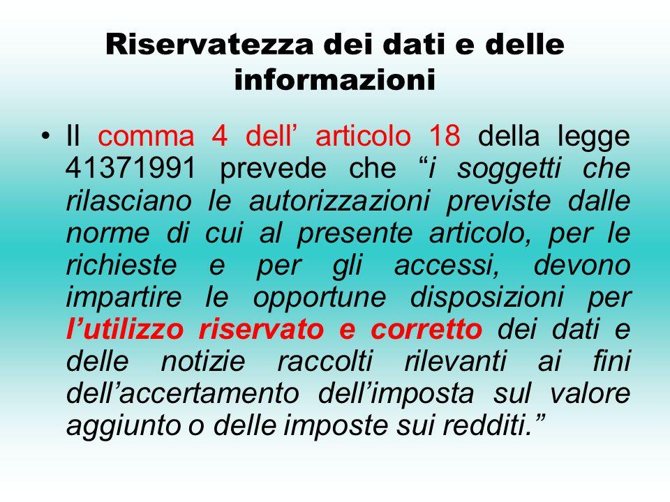 Riservatezza dei dati e delle informazioni