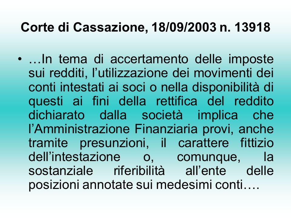 Corte di Cassazione, 18/09/2003 n. 13918