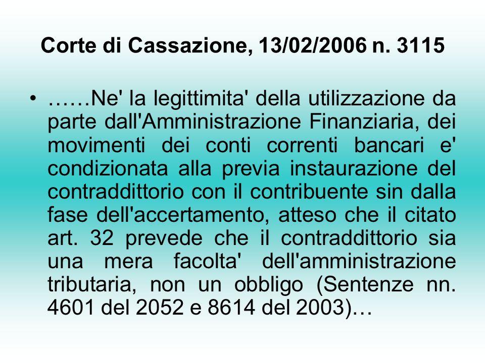 Corte di Cassazione, 13/02/2006 n. 3115