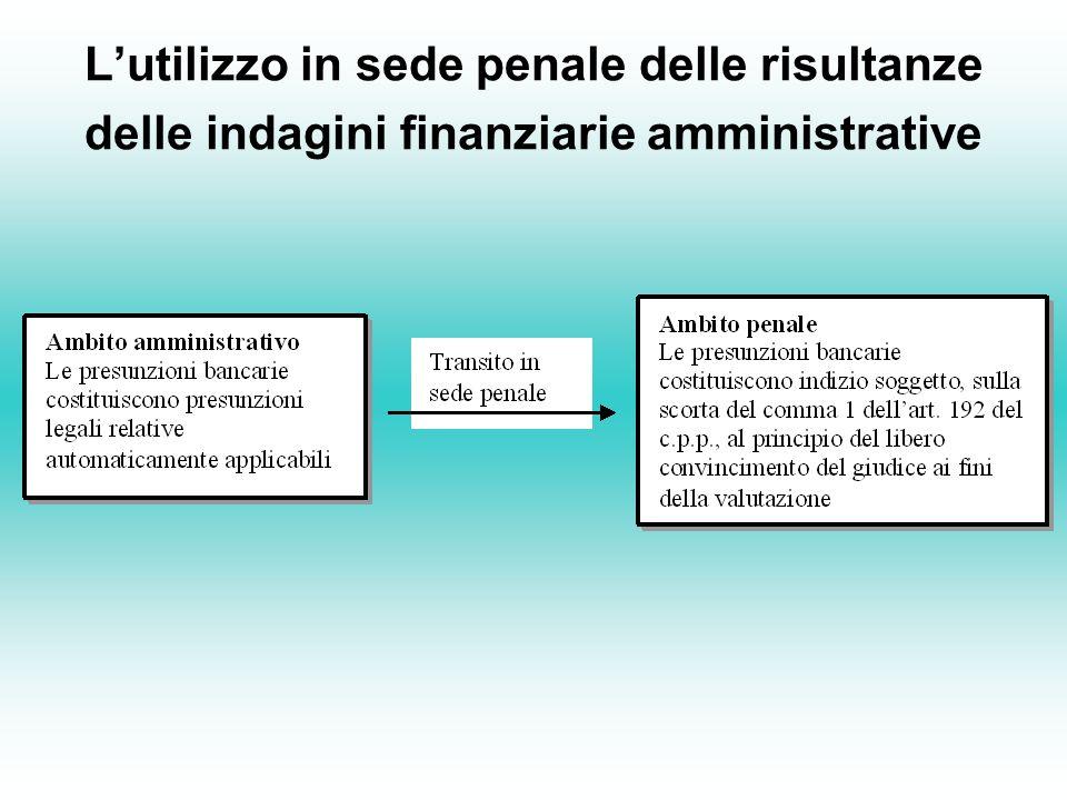 L'utilizzo in sede penale delle risultanze delle indagini finanziarie amministrative
