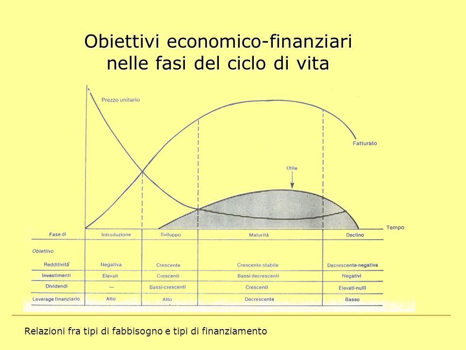 Obiettivi economico-finanziari nelle fasi del ciclo di vita