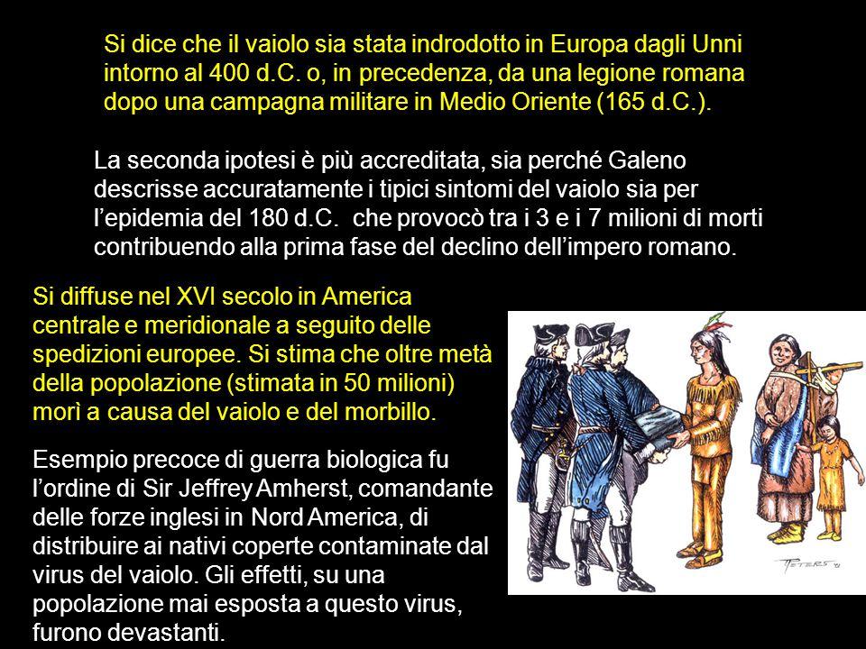 Si dice che il vaiolo sia stata indrodotto in Europa dagli Unni intorno al 400 d.C. o, in precedenza, da una legione romana dopo una campagna militare in Medio Oriente (165 d.C.).