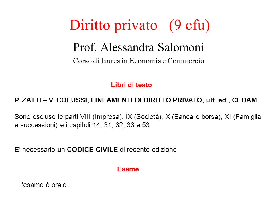 Prof. Alessandra Salomoni Corso di laurea in Economia e Commercio