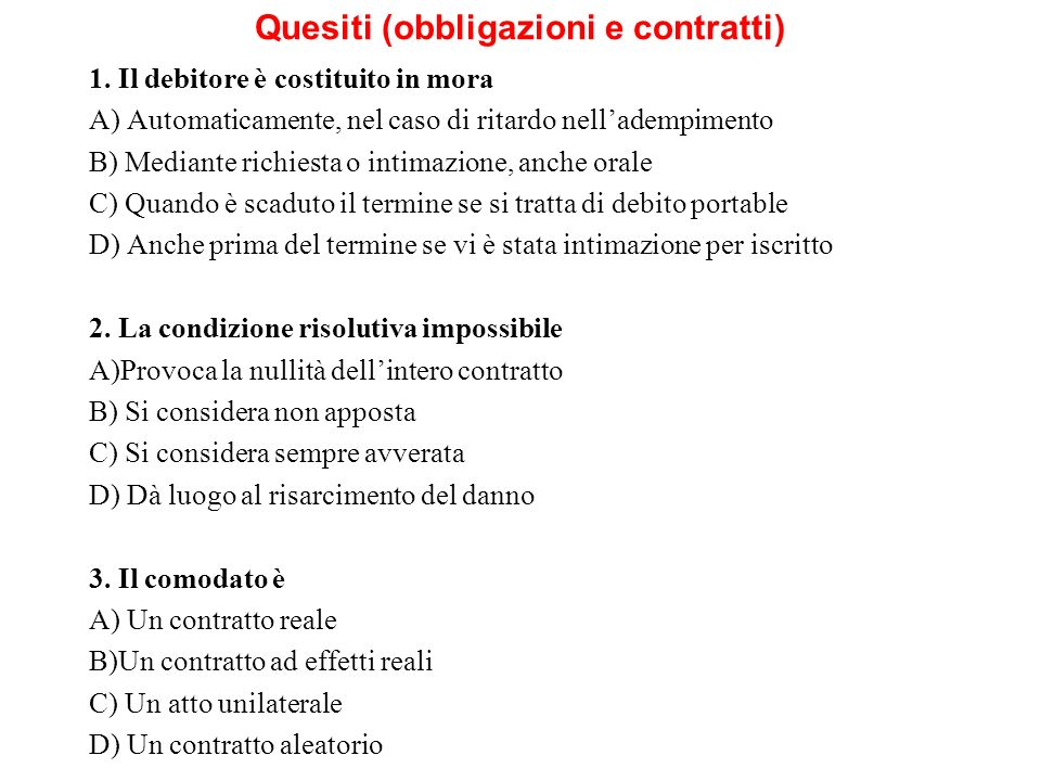 Quesiti (obbligazioni e contratti)