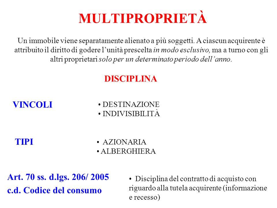 MULTIPROPRIETÀ DISCIPLINA VINCOLI TIPI Art. 70 ss. d.lgs. 206/ 2005