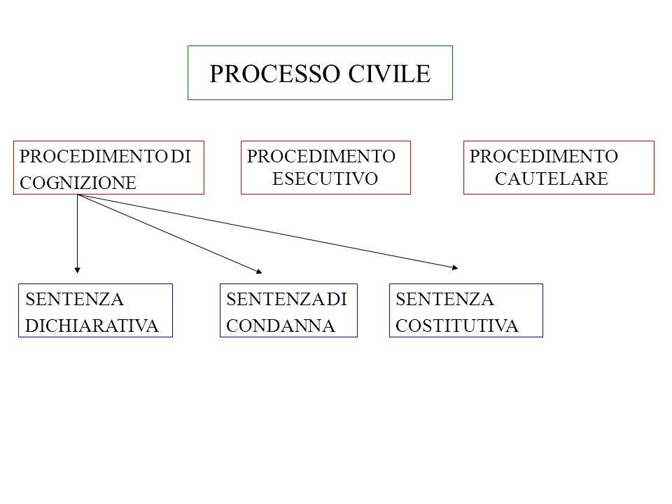 PROCESSO CIVILE PROCEDIMENTO DI COGNIZIONE PROCEDIMENTO ESECUTIVO