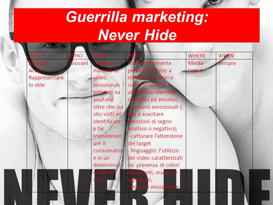Guerrilla marketing: Never Hide