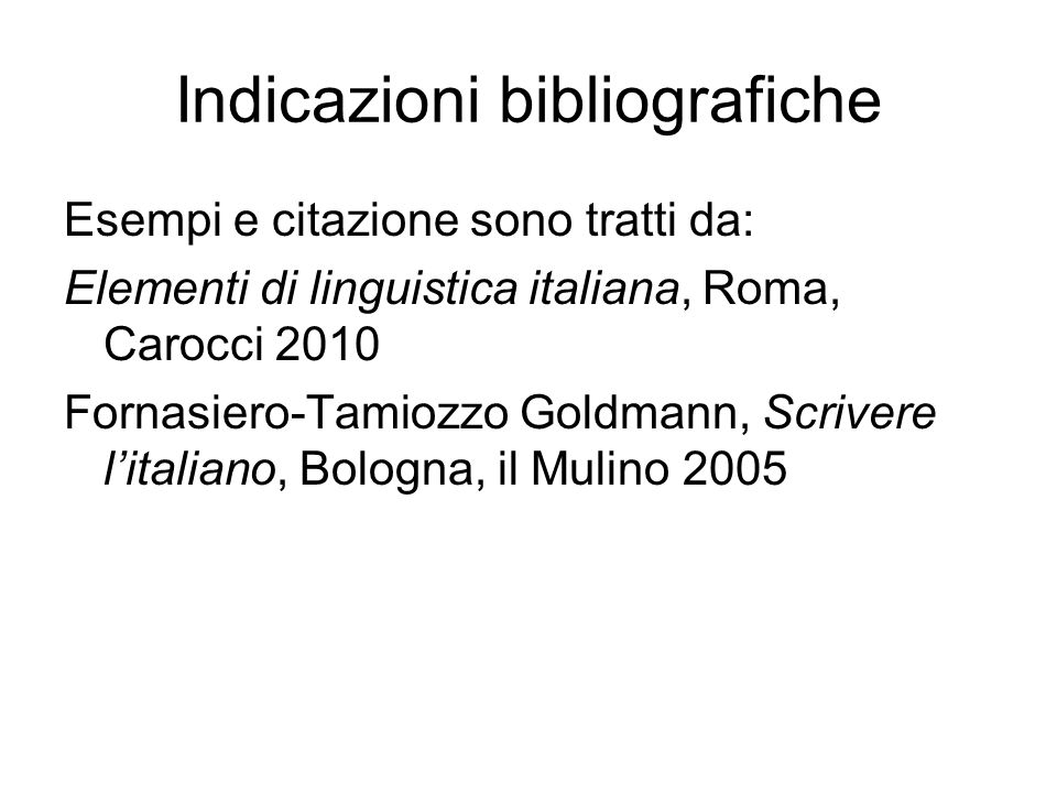 Indicazioni bibliografiche