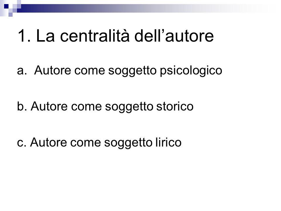1. La centralità dell'autore