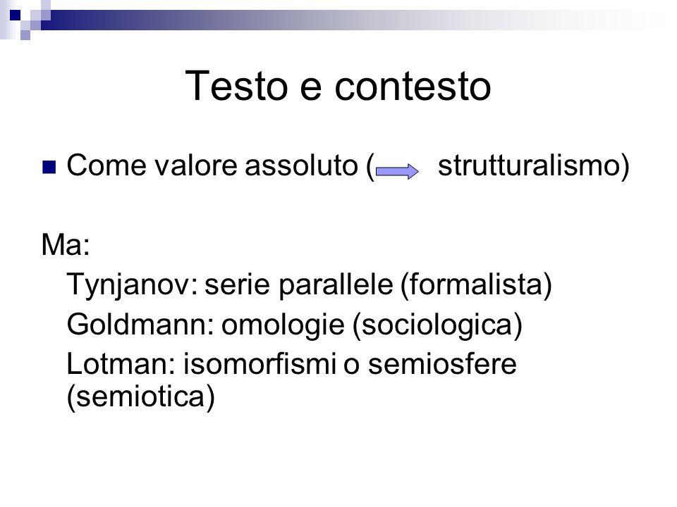 Testo e contesto Come valore assoluto ( strutturalismo) Ma: