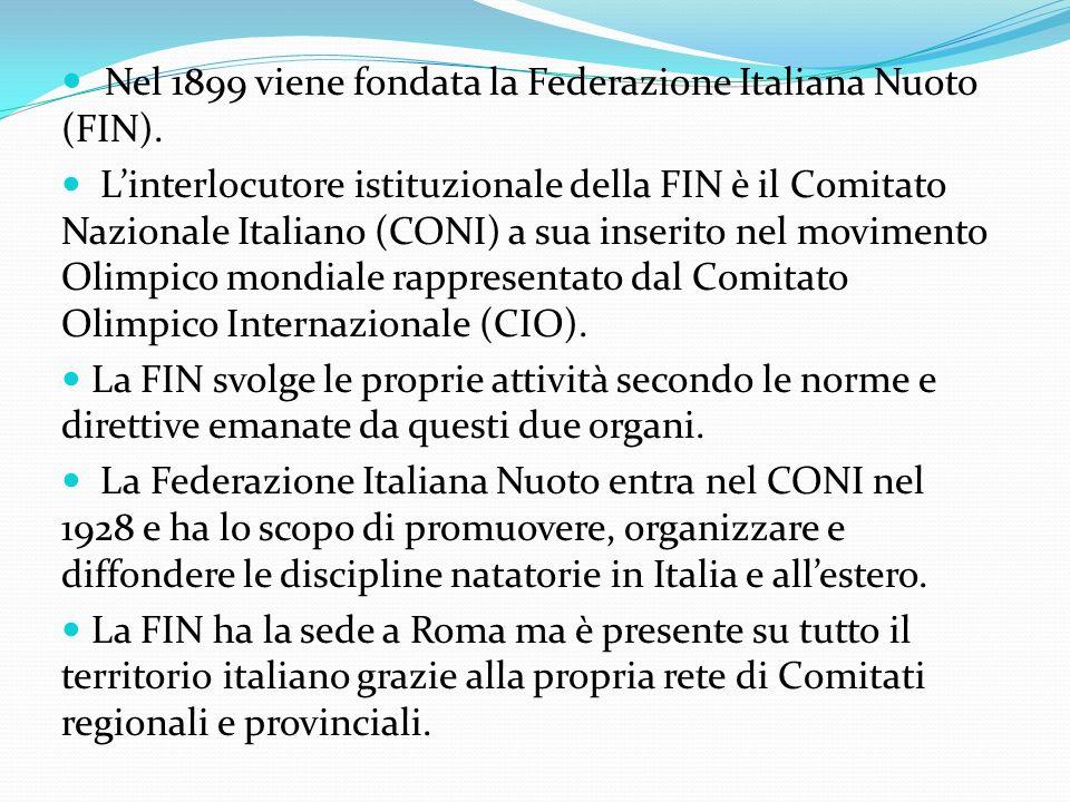 Nel 1899 viene fondata la Federazione Italiana Nuoto (FIN).