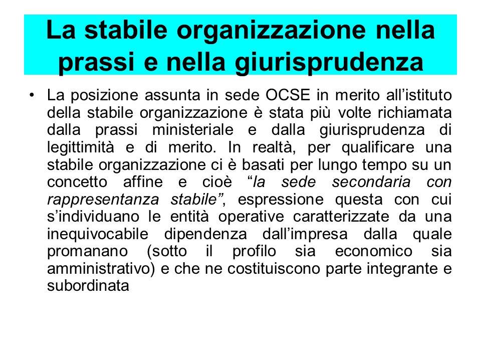 La stabile organizzazione nella prassi e nella giurisprudenza