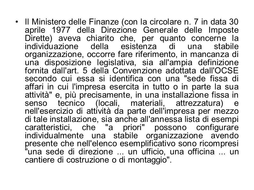 Il Ministero delle Finanze (con la circolare n