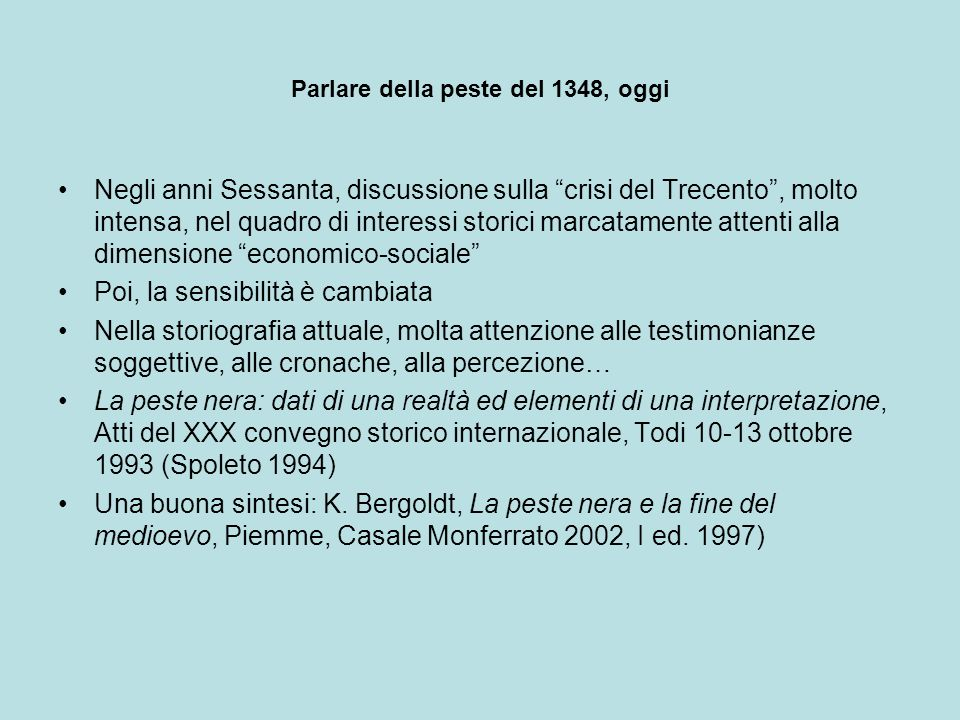 Parlare della peste del 1348, oggi