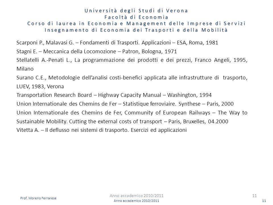 Insegnamento di Economia dei Trasporti e della Mobilità