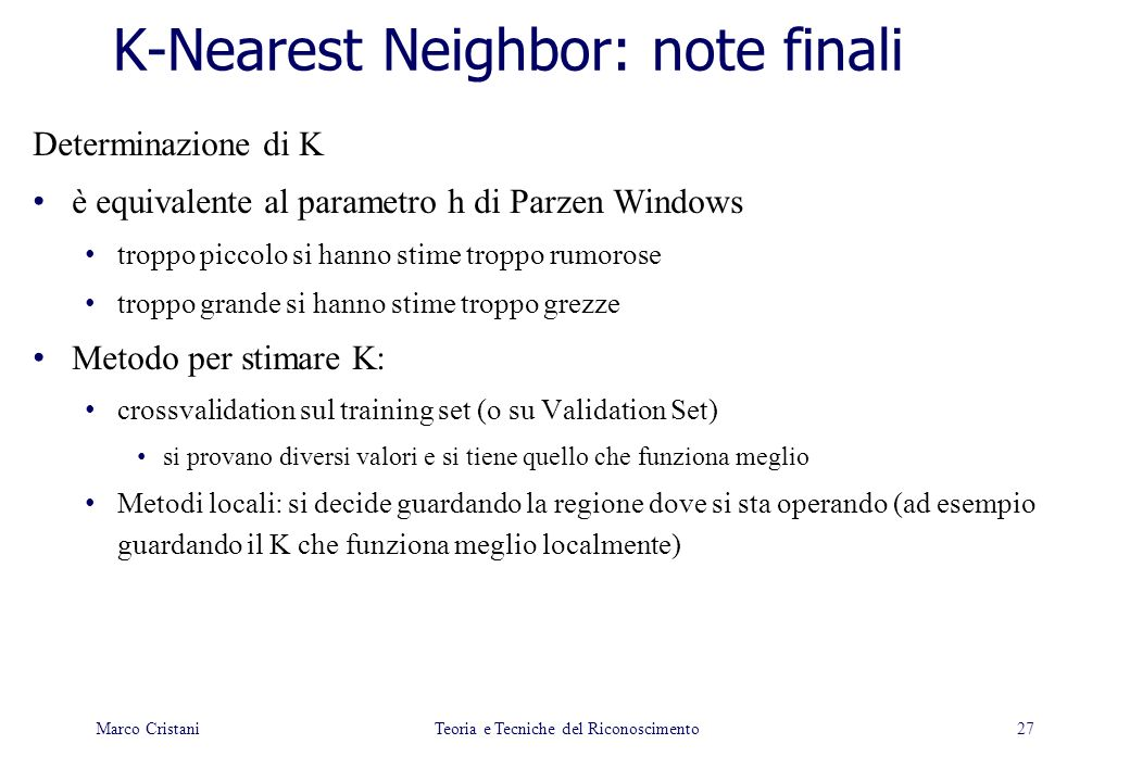 K-Nearest Neighbor: note finali