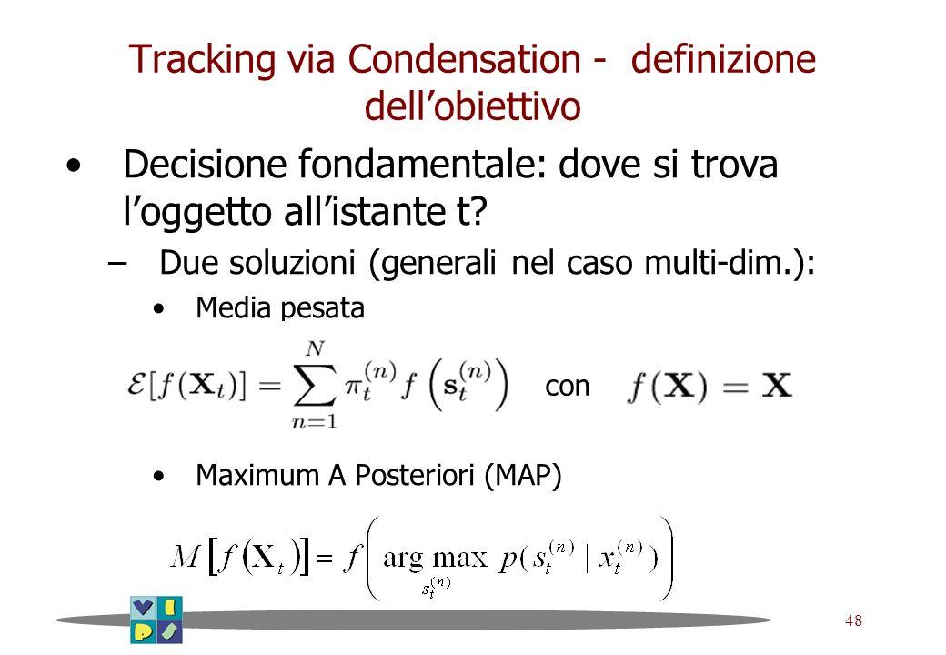 Tracking via Condensation - definizione dell'obiettivo
