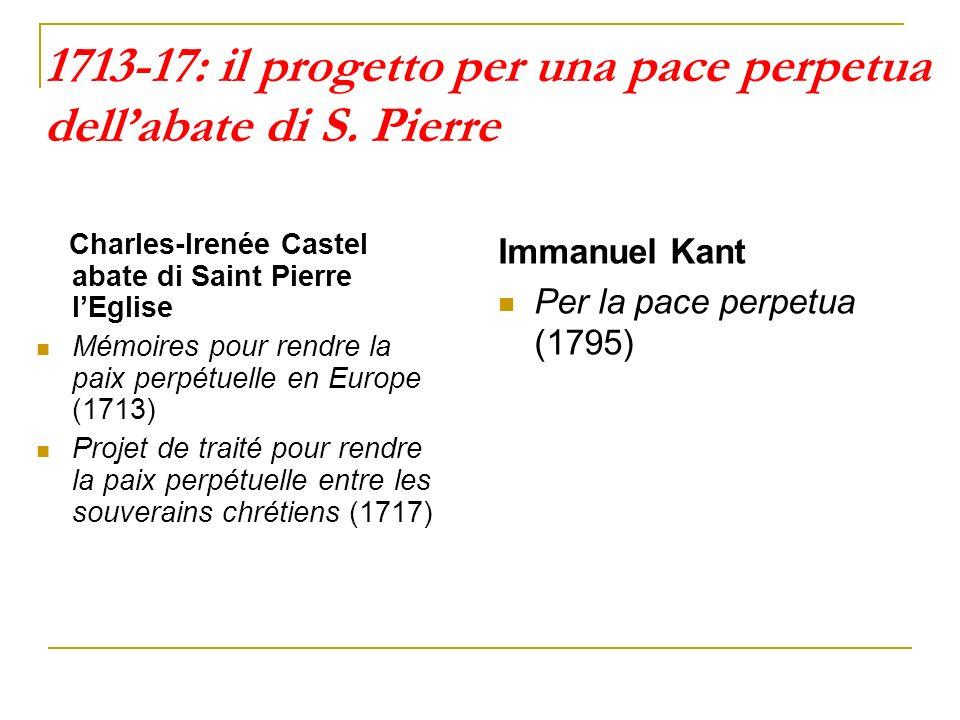 1713-17: il progetto per una pace perpetua dell'abate di S. Pierre