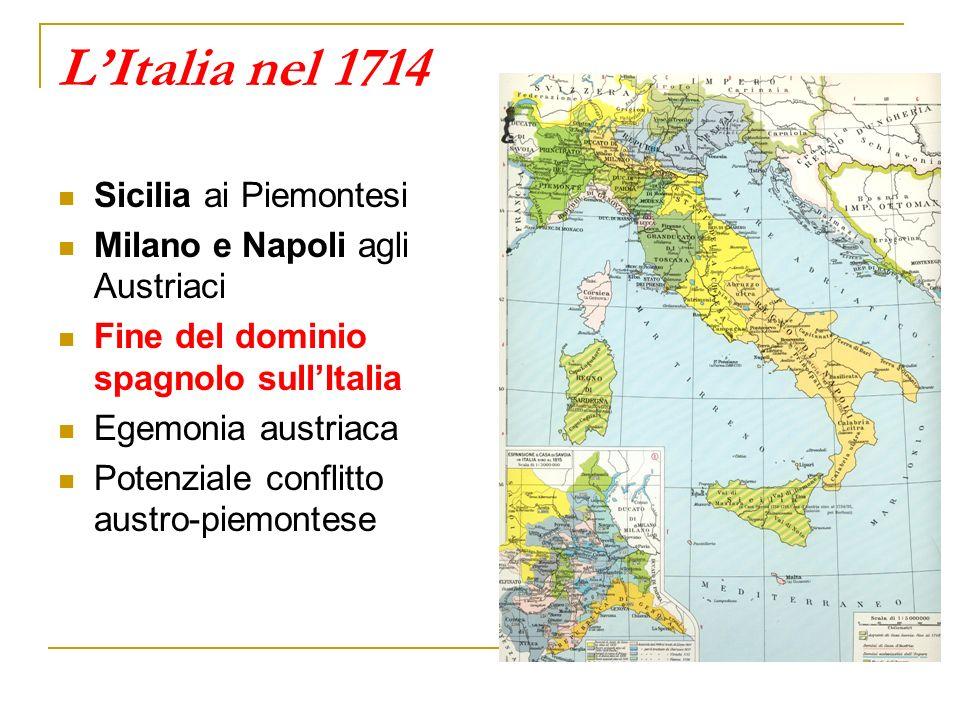 L'Italia nel 1714 Sicilia ai Piemontesi Milano e Napoli agli Austriaci