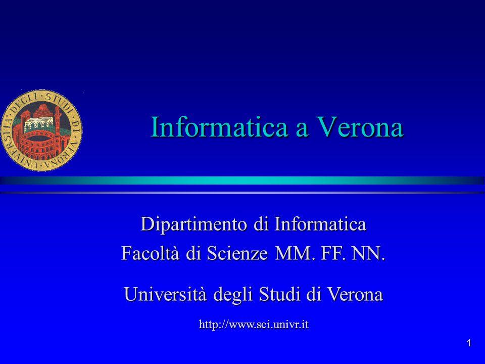 Informatica a Verona Dipartimento di Informatica Facoltà di Scienze MM. FF. NN. Università degli Studi di Verona.