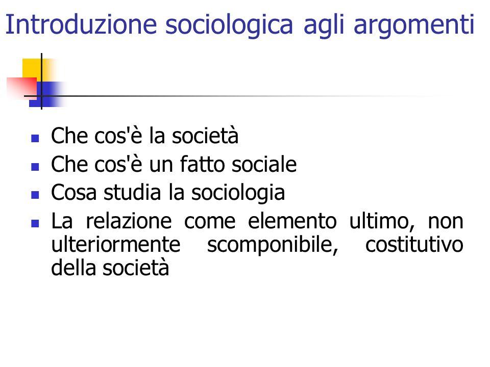 Introduzione sociologica agli argomenti