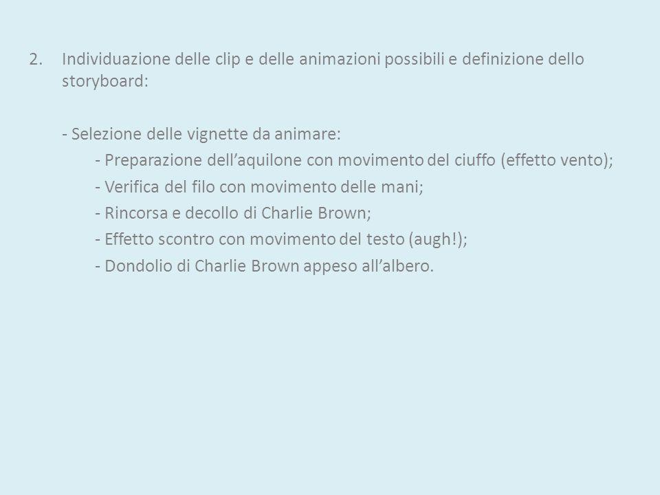 Individuazione delle clip e delle animazioni possibili e definizione dello storyboard: