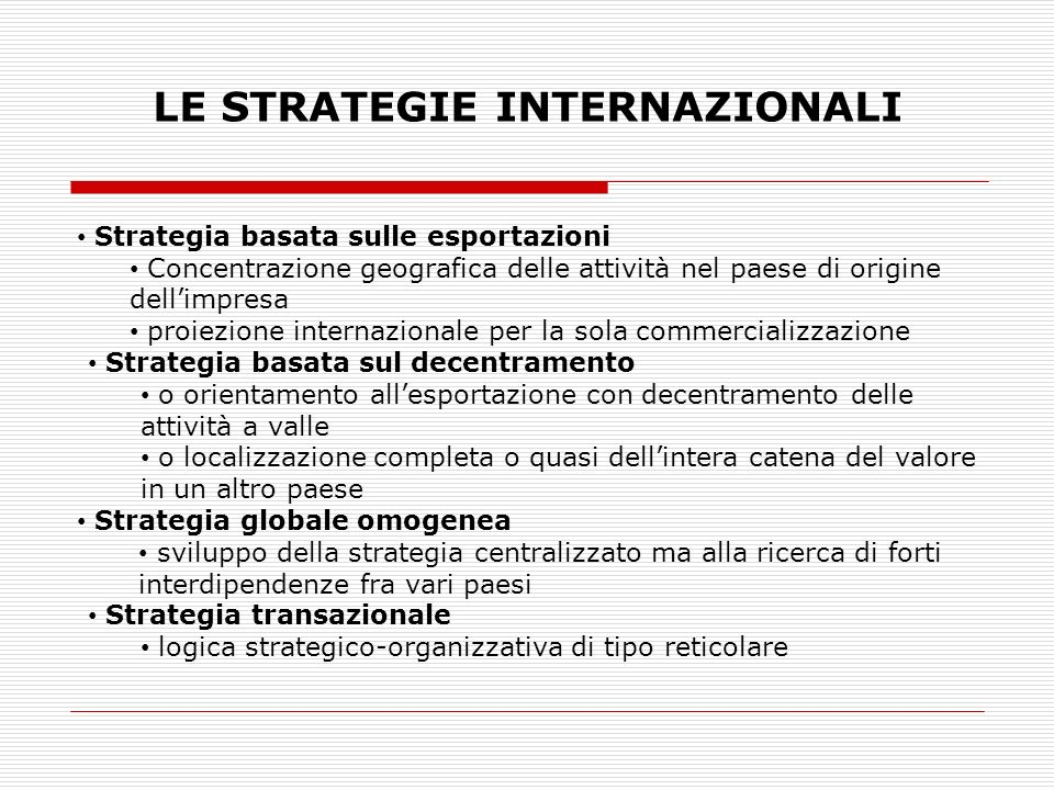LE STRATEGIE INTERNAZIONALI