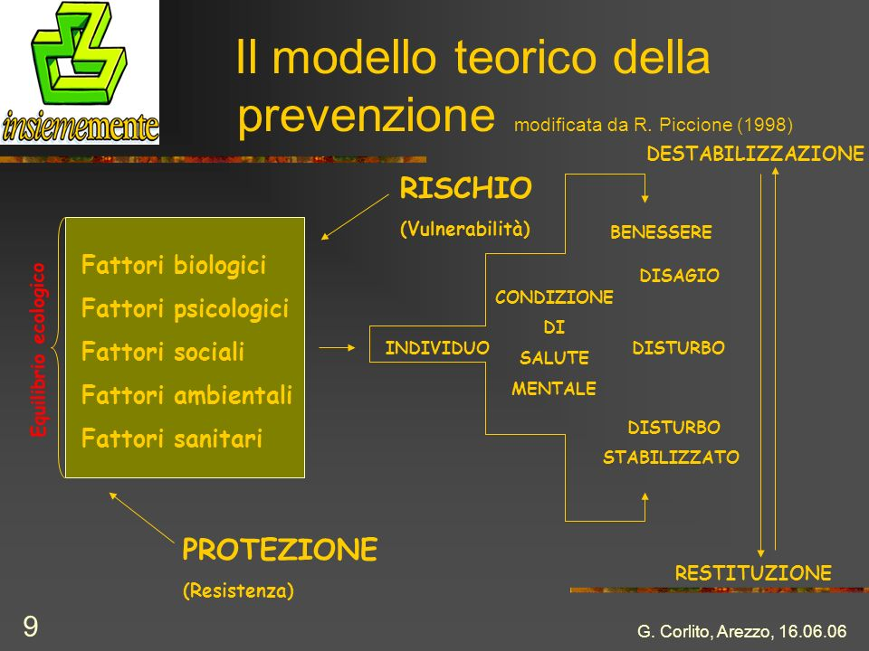 Il modello teorico della prevenzione modificata da R. Piccione (1998)