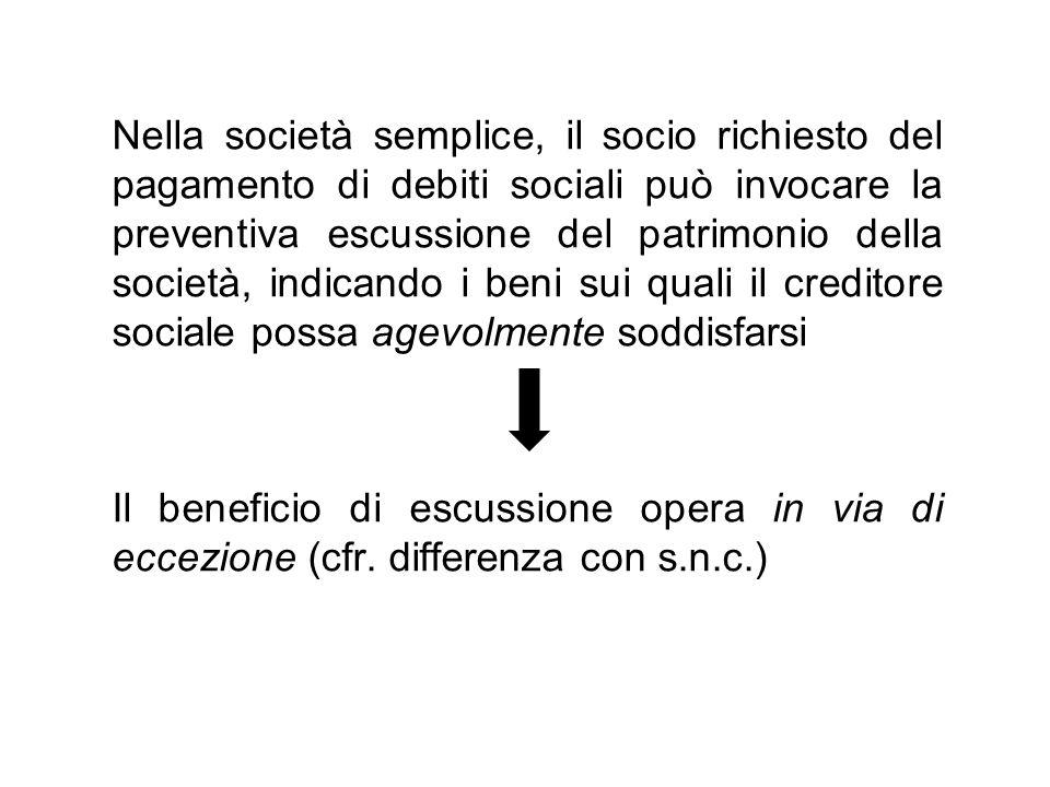 Nella società semplice, il socio richiesto del pagamento di debiti sociali può invocare la preventiva escussione del patrimonio della società, indicando i beni sui quali il creditore sociale possa agevolmente soddisfarsi