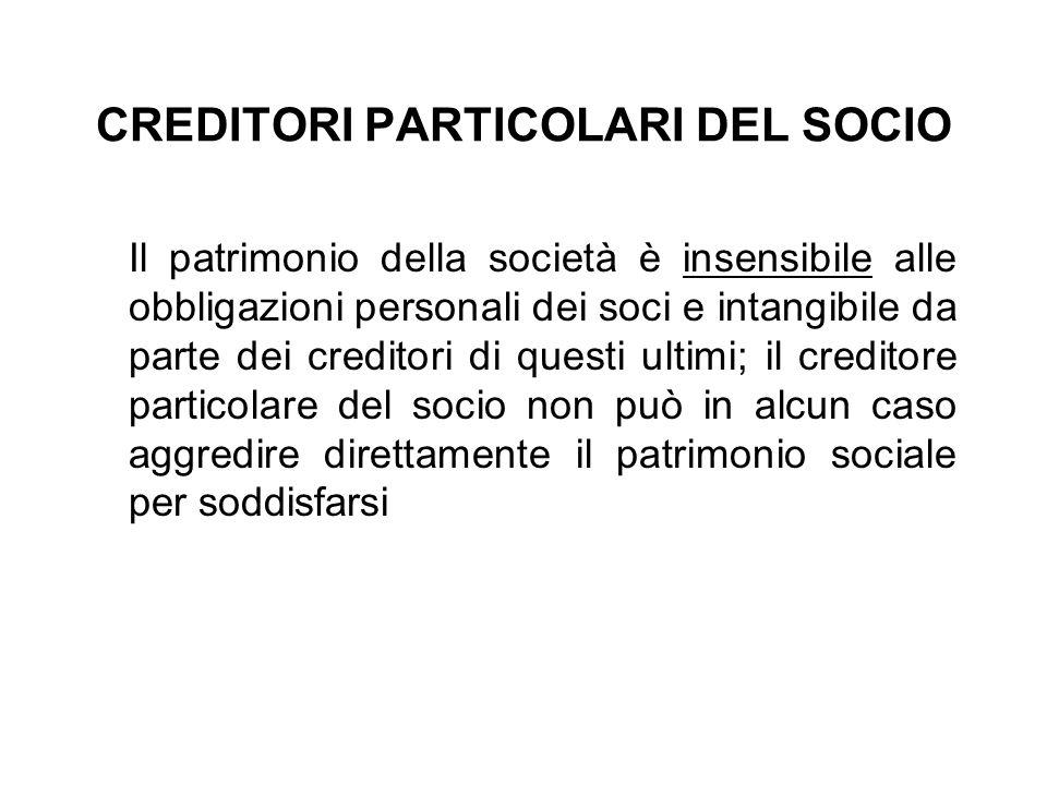 CREDITORI PARTICOLARI DEL SOCIO