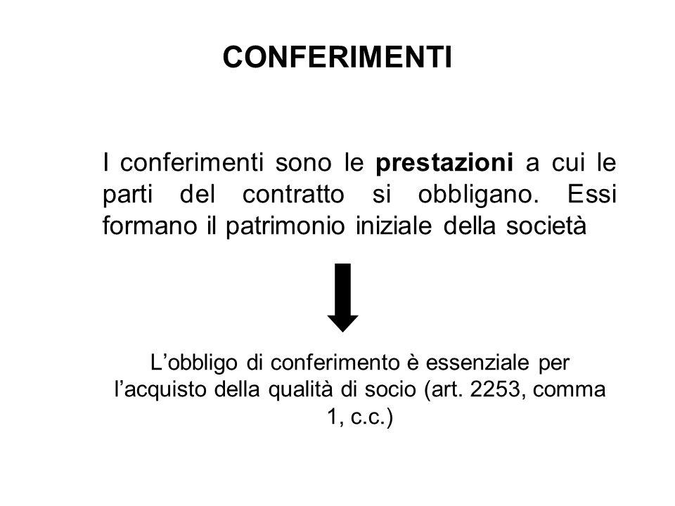 CONFERIMENTI I conferimenti sono le prestazioni a cui le parti del contratto si obbligano. Essi formano il patrimonio iniziale della società.