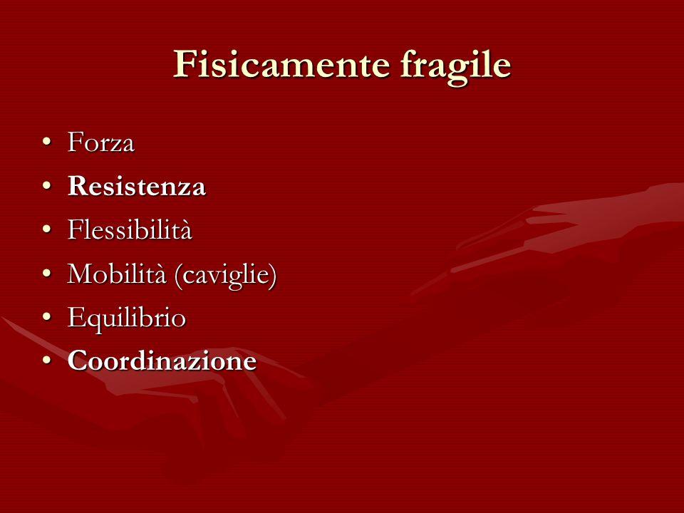 Fisicamente fragile Forza Resistenza Flessibilità Mobilità (caviglie)