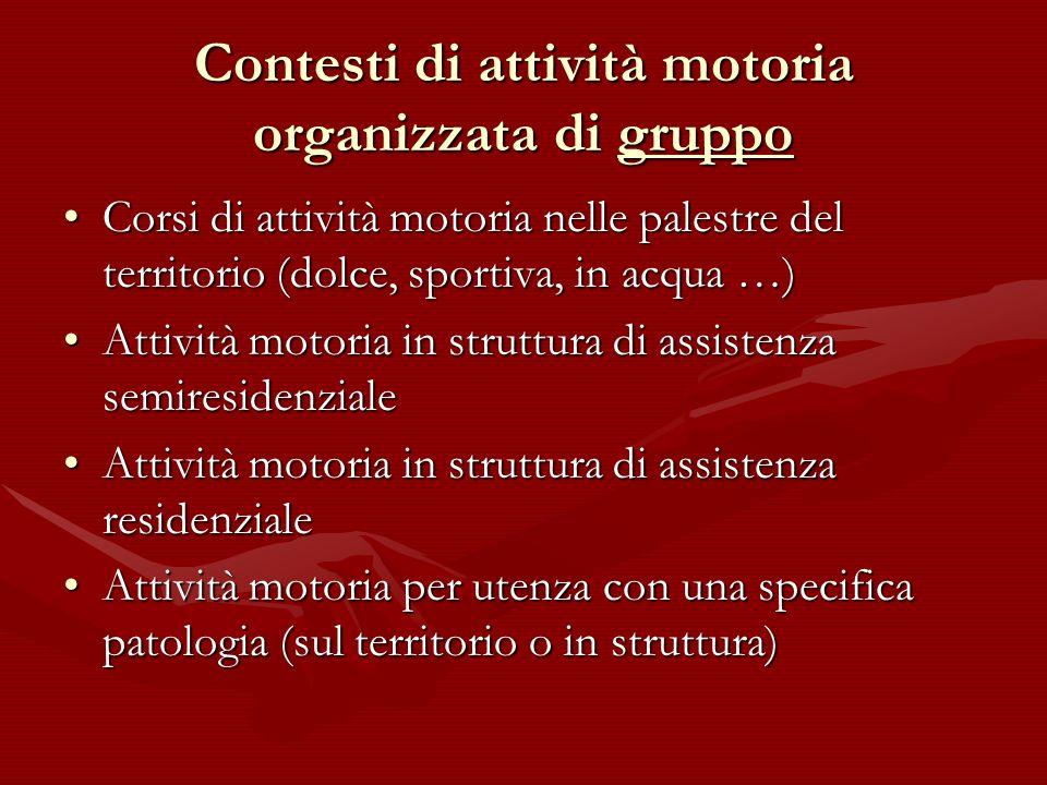 Contesti di attività motoria organizzata di gruppo