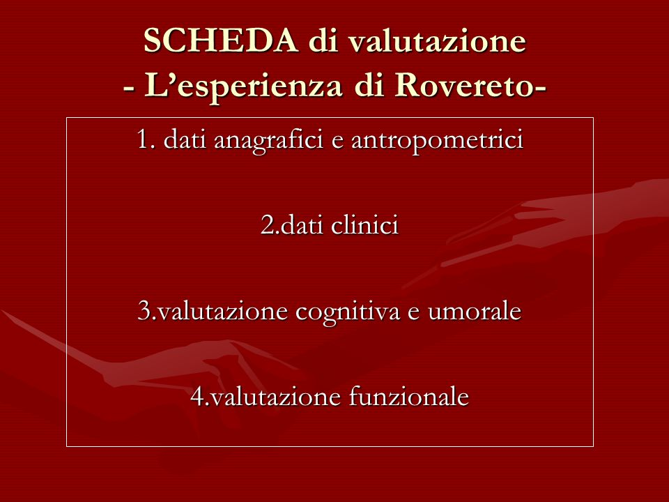 SCHEDA di valutazione - L'esperienza di Rovereto-