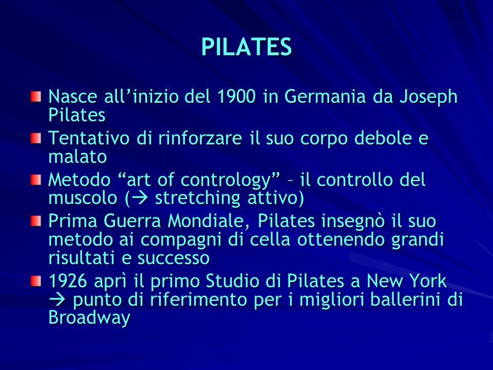 PILATES Nasce all'inizio del 1900 in Germania da Joseph Pilates