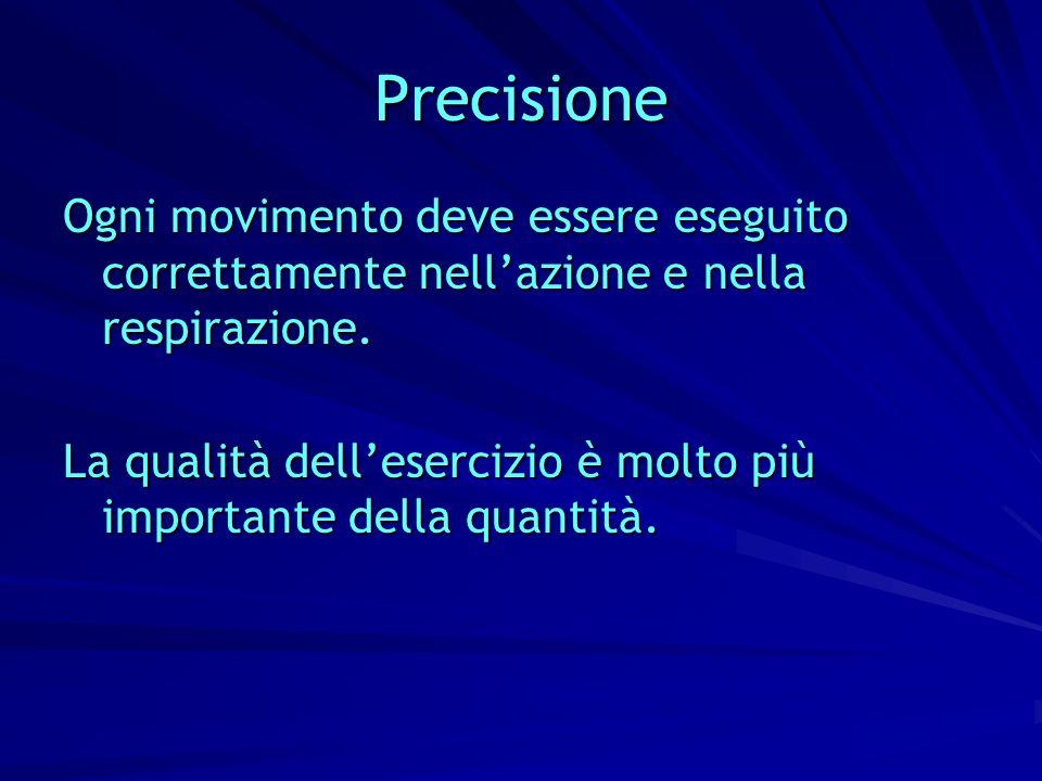 Precisione Ogni movimento deve essere eseguito correttamente nell'azione e nella respirazione.