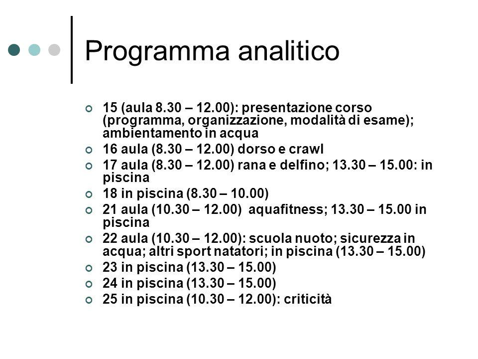 Programma analitico 15 (aula 8.30 – 12.00): presentazione corso (programma, organizzazione, modalità di esame); ambientamento in acqua.